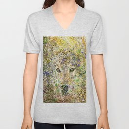 wolf in the bushes Unisex V-Neck
