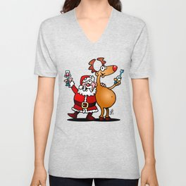 Santa Claus and his Reindeer Unisex V-Neck