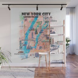 New York City Illustrated Map with Main Roads, Landmarks and Highlights Wall Mural