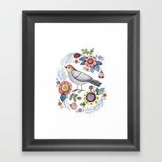 Romantic singing bird with flowers Framed Art Print