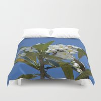 indonesia Duvet Covers featuring Plumerias (Bali, Indonesia) by Christian Haberäcker - acryl abstract