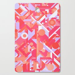 GEOMETRY SHAPES PATTERN PRINT (WARM RED LAVENDER COLOR SCHEME) Cutting Board