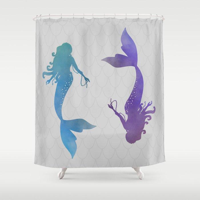 Beau Blue U0026 Purple Mermaid Shower Curtain