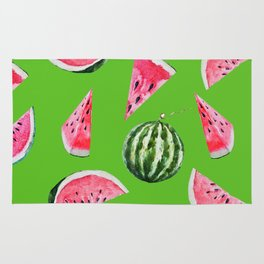 Watermelon Pattern with Green Background Rug