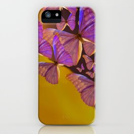 Shiny Purple Butterflies On A Ocher Color Background #decor #society6 iPhone Case