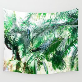 The wild shadow tropical palm tree green bright photography Wall Tapestry