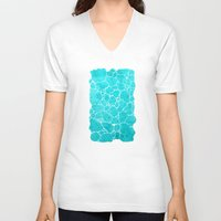 turquoise V-neck T-shirts featuring turquoise by Antracit