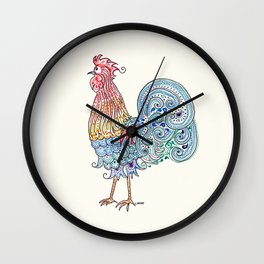 Doodle Rooster on Cream Wall Clock