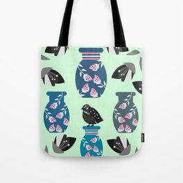 Quail, flowers and vases Tote Bag