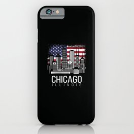 Chicago Illinois with American Flag iPhone Case