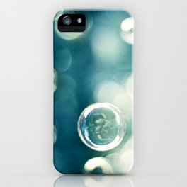 Bubble Photography, Teal Bathroom Art, Turquoise Aqua Laundry Photo iPhone Case