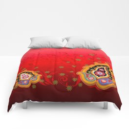 red jewel paisley border Comforters