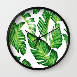 Banana Leaves pattern in watercolor Wall Clock