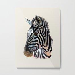 Zebra Painting Print - Safari Art Zebra Head Wall Art Metal Print