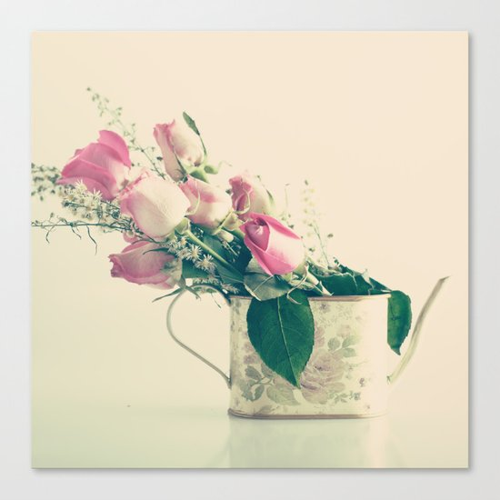 Shabby Chic Roses - Retro Vintage Pink Floral Photography on beige background Canvas Print