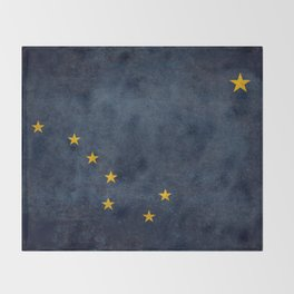 Alaskan State Flag, Distressed worn style Throw Blanket