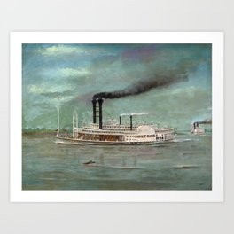 Steamboat Robert E. Lee Painting Art Print