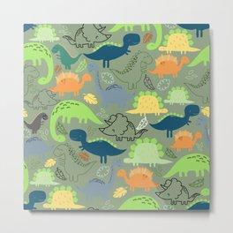 Dinosaurs jungle pattern Metal Print