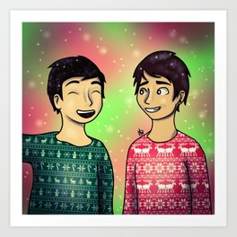 Christmas Dan and Phil Art Print