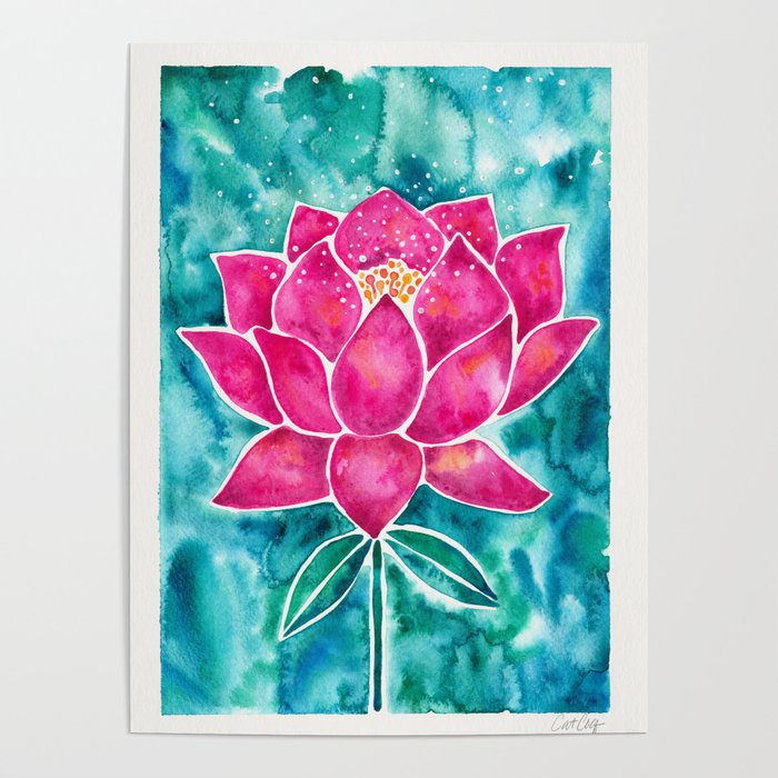 Sacred Lotus – Magenta Blossom with Turquoise Wash Poster