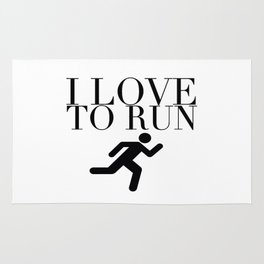 I Love to Run with Running Stick Figure in Black Rug