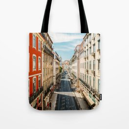 Beautiful Streets Downtown Lisbon City, Wall Art Print, Modern Architecture Art, Poster Decor Tote Bag