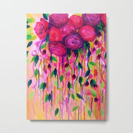 ROSES ARE RAD 2- Bold Pink Red Roses Floral Bouquet Vines, Flower Abstract Acrylic Painting Fine Art Metal Print