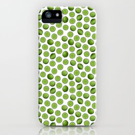 Dancing Green Limes on White iPhone Case