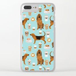 Bloodhound coffee dog pattern dog breed custom gifts for dog lovers bloodhounds Clear iPhone Case