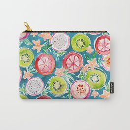 SO NICE Colorful Tropical Fruit Watercolor Carry-All Pouch