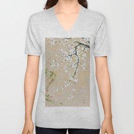 Japanese apricot flower painting,oriental,chinoiserie,korean painting Unisex V-Neck