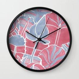 Pink and Blue Botanical Wall Clock