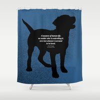 vonnegut Shower Curtains featuring The Purpose by StephyLouPavlik