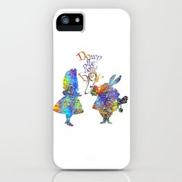 Down The Rabbit Hole Colorful Watercolor Art iPhone Case