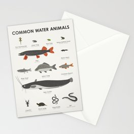 Infographic Guide to Water Animals Stationery Cards
