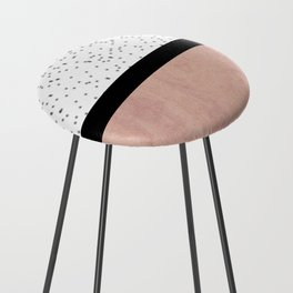 Pink marble and dots Counter Stool