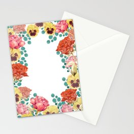 Red rose and pansy flowers Stationery Cards