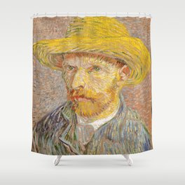 Vincent van Gogh - Self-Portrait with a Straw Hat Shower Curtain