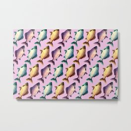Colorful fishes pattern with pinkish background Metal Print