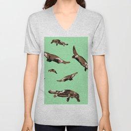 Platypus Ornithorhynchus anatinus green Unisex V-Neck
