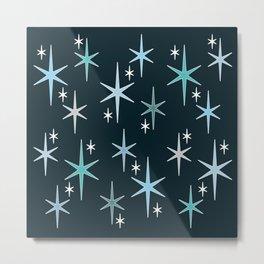 Mid Century Modern Star Sky Blue Metal Print