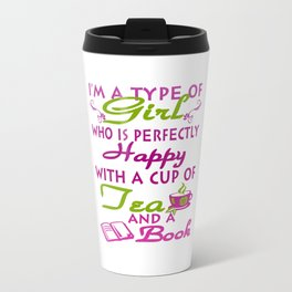 Girl with a cup of tea and a book Travel Mug