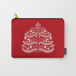 Scandinavian Folk Art Christmas Tree Carry-All Pouch