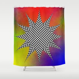 Modern Checkered Plasma Shower Curtain