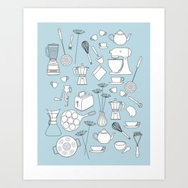 in the kitchen Art Print