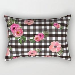 Gingham+Floral Rectangular Pillow