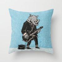 rhino Throw Pillows featuring Rhino by Ronan Lynam