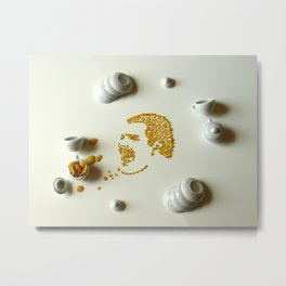Freddie Mercury's face made out of cornflakes Metal Print