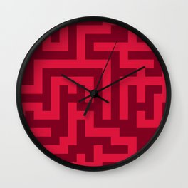 Crimson Red and Burgundy Red Labyrinth Wall Clock