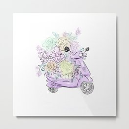 flowers and scooter 2 Metal Print